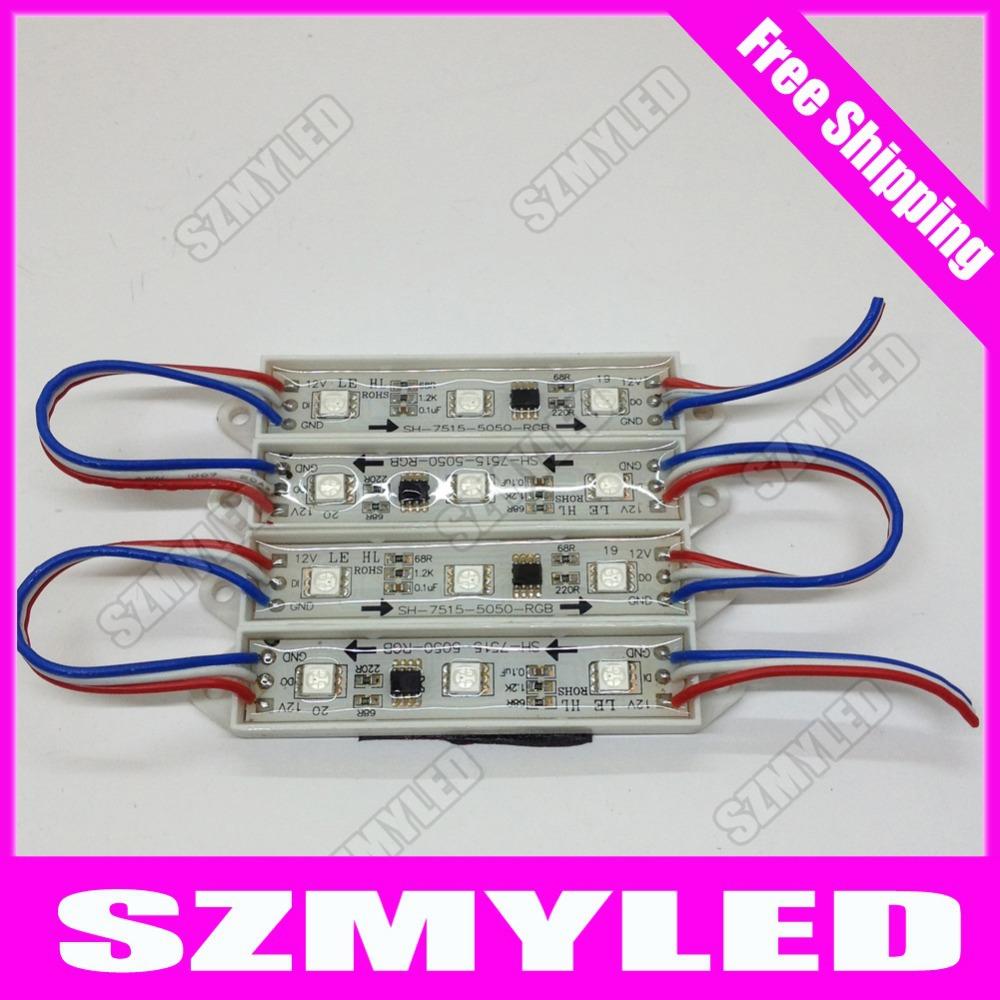 MIYOLE 100pcs WS2811 LED Module 5050 3led led modules 12V ip65 RGB Controller ic Advertising LED sign 5050 3 head module stripe(China (Mainland))