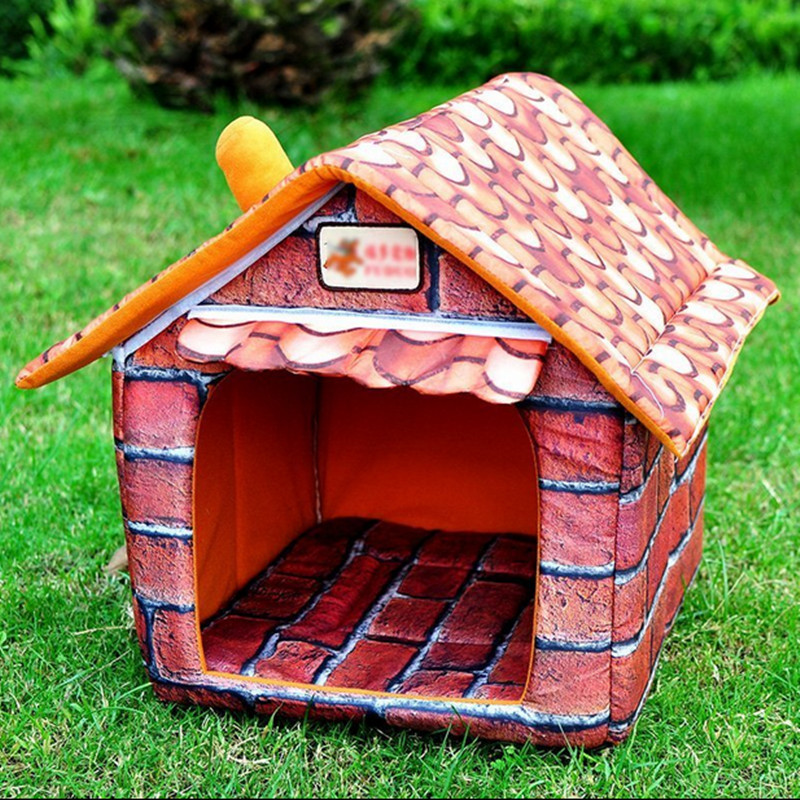 Pet Supplies Can Unpick And Wash Teddy House Nest Dog House Pet Dog Kennel Cat House With Chimney 160428-4(China (Mainland))