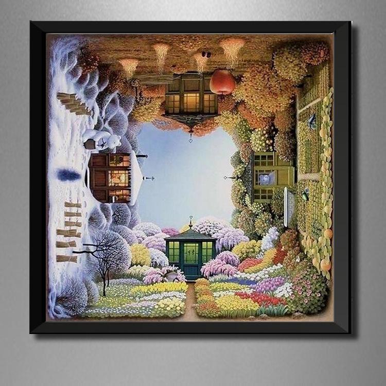 70*70 Big Size Creative House Diamond Painting Embroidery Cross Stitch Mosaic Needlework Rhinestone Craft Full Drill Home Decor