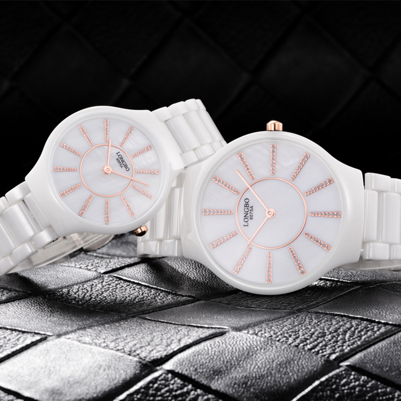 LONGBO Luxury White Ceramic Water Resistant Classic Easy Read Sports Women Wrist Watch,Diamond Womens Top Ceramic watch 6075A<br><br>Aliexpress