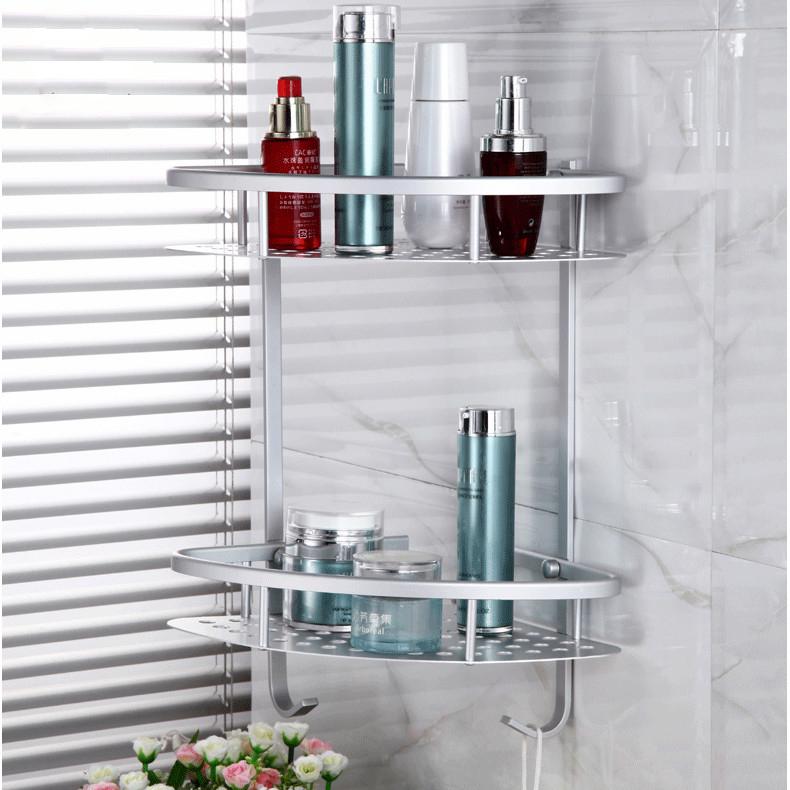 Hot sale popular Two Layer Bathroom Rack Space Aluminum Towel Washing Shower Basket Bar Shelf /bathroom accessories(China (Mainland))