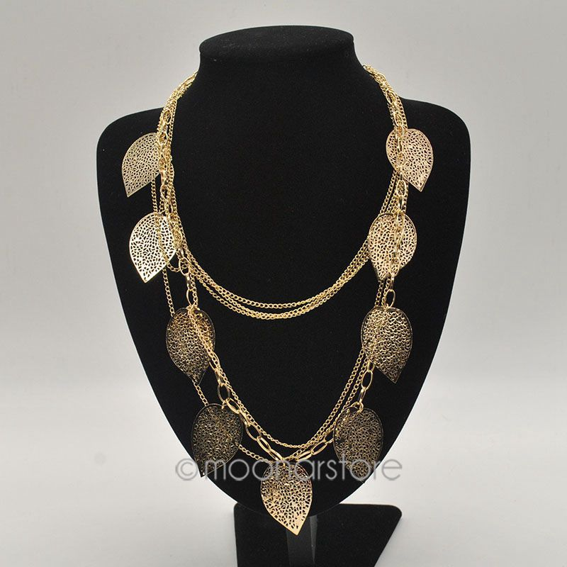 Fashion Jewelry Vintage Bohemian Necklace Leaves Multi-Layer Necklace Gold Bohemia Charm Long Necklace Chain #7(China (Mainland))