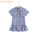 Fashion Baby Girls Summer Dress embroidery Face To Face Striped Princess Dresses For Birthday Party Wedding