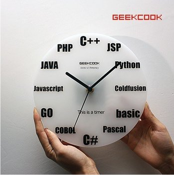 Wall Clock Minimalist Fashion Programm Languages Circular Square wall  Carbon Battery  Drop Shipping