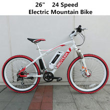 "26"" 24 Speed 36V/9AH Lithium Battery Electric Mountain Bike, E-bike, MTB Bicycle, Disc Brake(China (Mainland))"