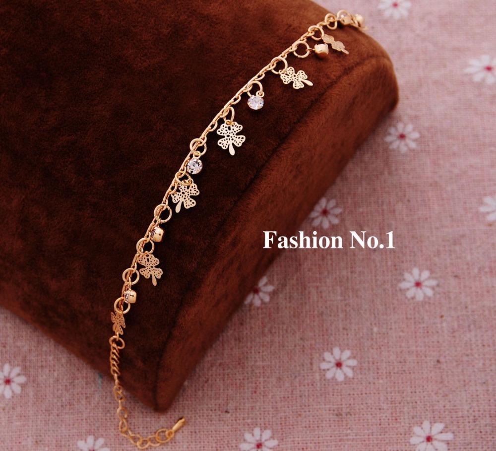 Romantic Charm Link Chain Crystal Bracelets Jewelry For Women Fashion Gold Filled Metal Plant Pendants Bracelets Bangles(China (Mainland))