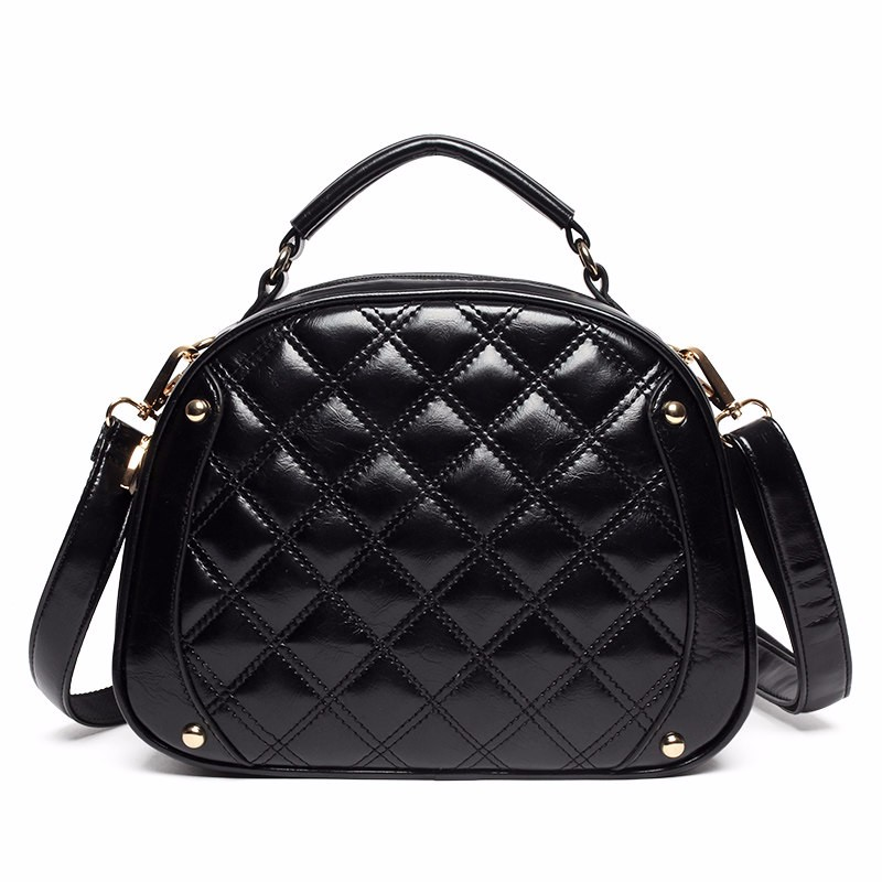 Classy Round Quilted Bag Women Box-type Stylish Shoulder Bag Classic Diamond Lattice Small Crossbody Bag Lady Black PU Hand Bag