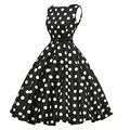 Vintage Women Dress Audrey Hepburn 1950s 60s Rockabilly Print Summer Retro Dress Sleeveless Vestidos Casual Empire