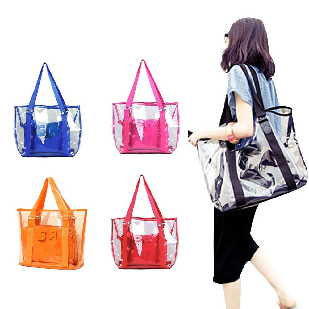 Fashion Women Jelly Candy Clear Transparent Handbag Tote Shoulder Bags Beach Bag LT88(China (Mainland))