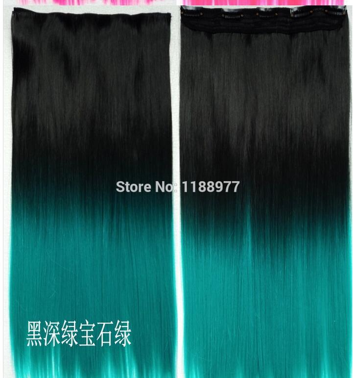 Ombre Hair Extensions Fiber Synthetic Hair Extension Gradient Ombre Three color Clip In Hair Extensions Rainbow Hair(China (Mainland))