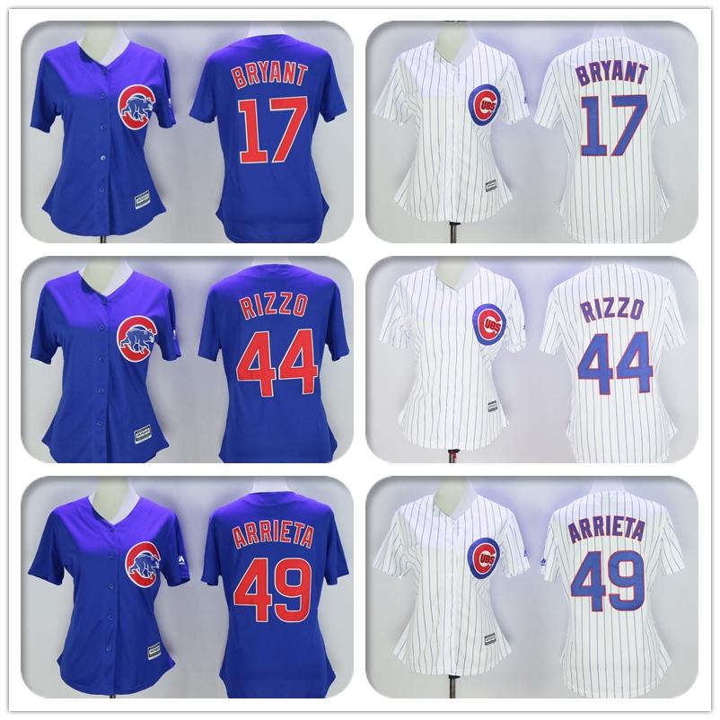 Womens #17 Kris Bryant #44 Anthony Rizzo #49 Jake Arrieta Jersey Color Gray Blue White Gray Throwback Jerseys(China (Mainland))