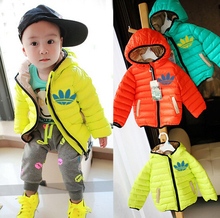 2015 Winter classic brand down-filled jacket children cotton-padded coat jogging down jacket kids boy girl outerwear clothes(China (Mainland))