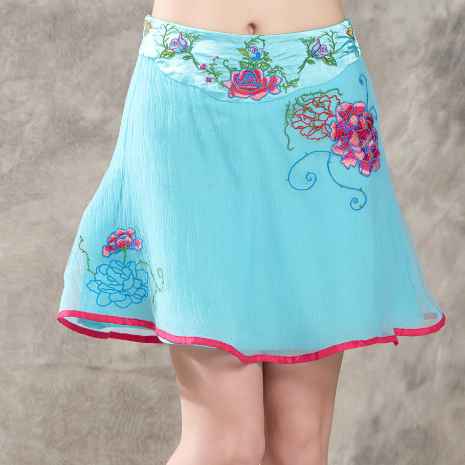 Retro New Summer Fine Mesh Waist Peony Embroidery Leisure Women A Word Skirts Fashion Mini Skirt N1036(China (Mainland))