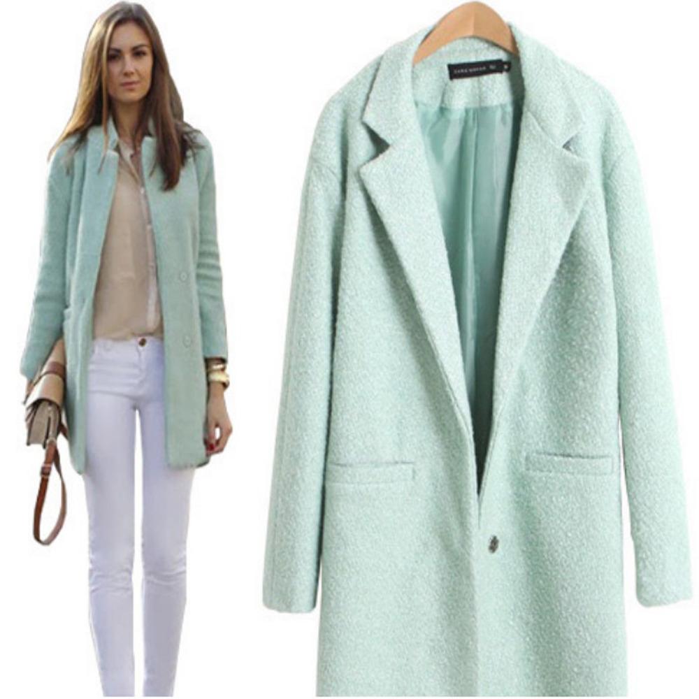 Autumn Winter Women Casual Tops Outerwear 2015 Fashion Mint Green Lapel Double Pocket Longline Wool Coat - Whats Apparel store