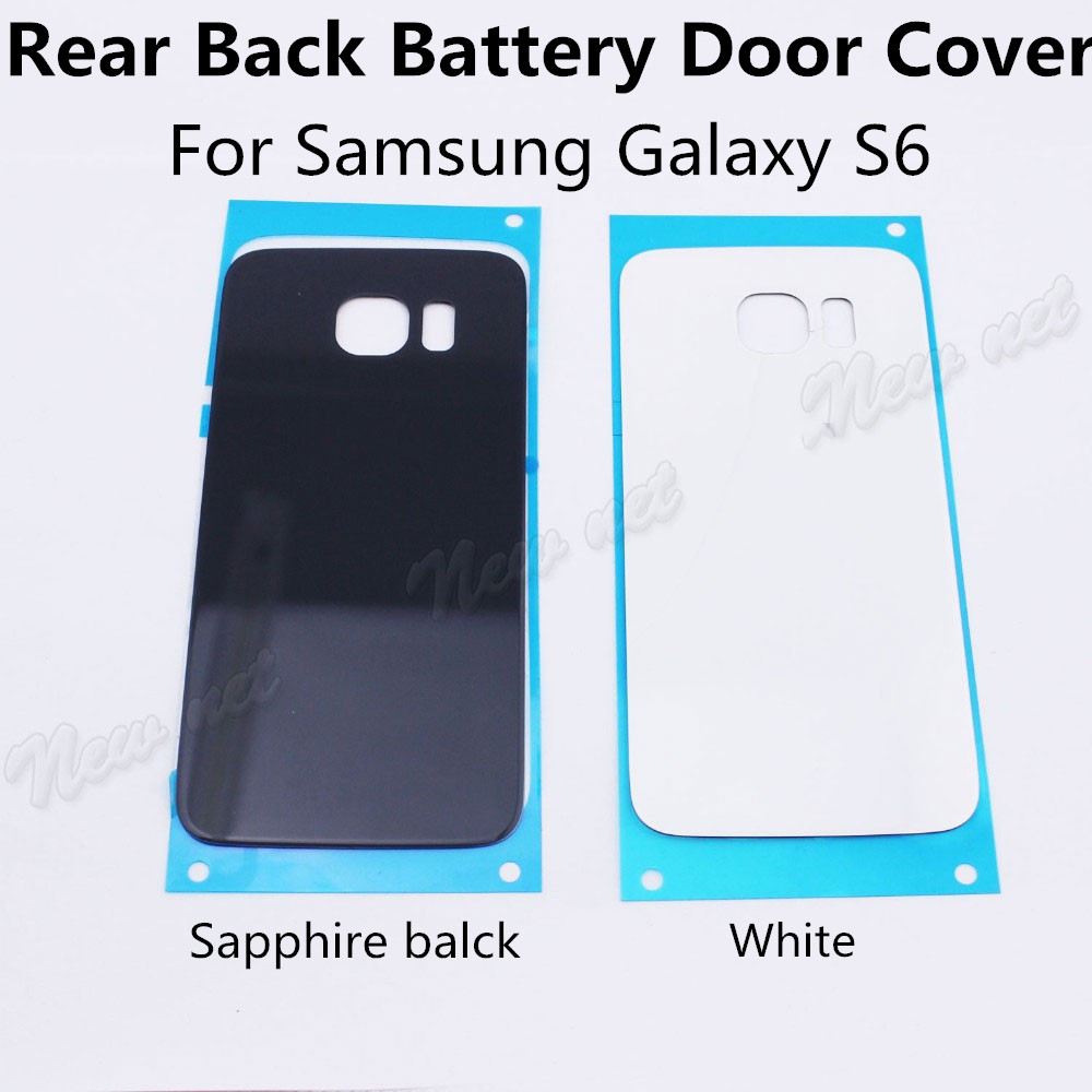 Sapphire Black & White Battery Door Case Back Glass Cover For Samsung Galaxy S6 Rear Case Cover Hot Sale Newest Free Shipping(China (Mainland))