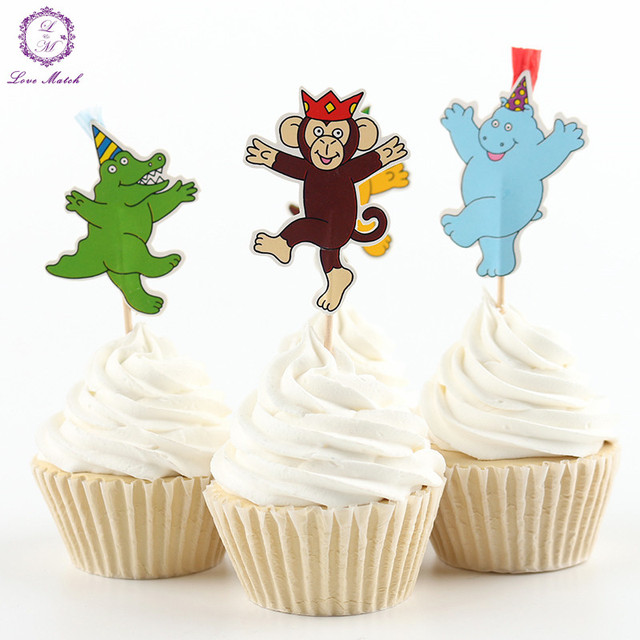 New 24pcs party supplies animals cupcake toppers picks for New home cupcake decorations