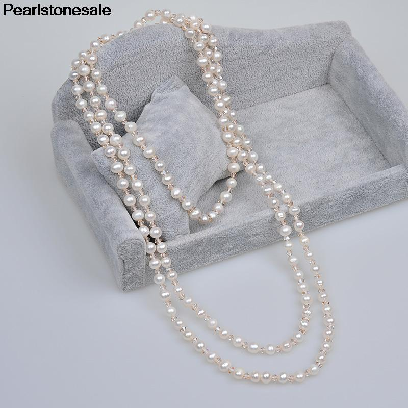 Genuine Real White Natural Fresh water Pearl Crystal Necklace sweater chain Long multilayer accessory female fashion