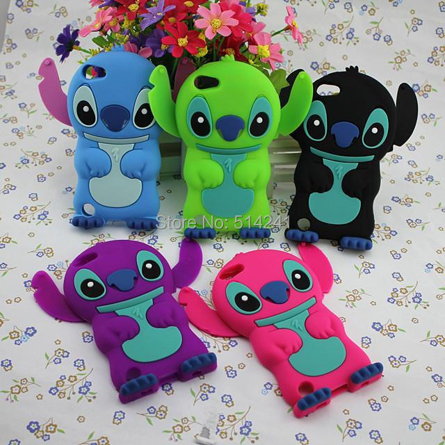 3D Stitch Cartoon Case for Apple iPod Touch 5 3D Soft Silicone Back Cover for iPod Touch 5th Free shipping 5 Color Availiable(China (Mainland))