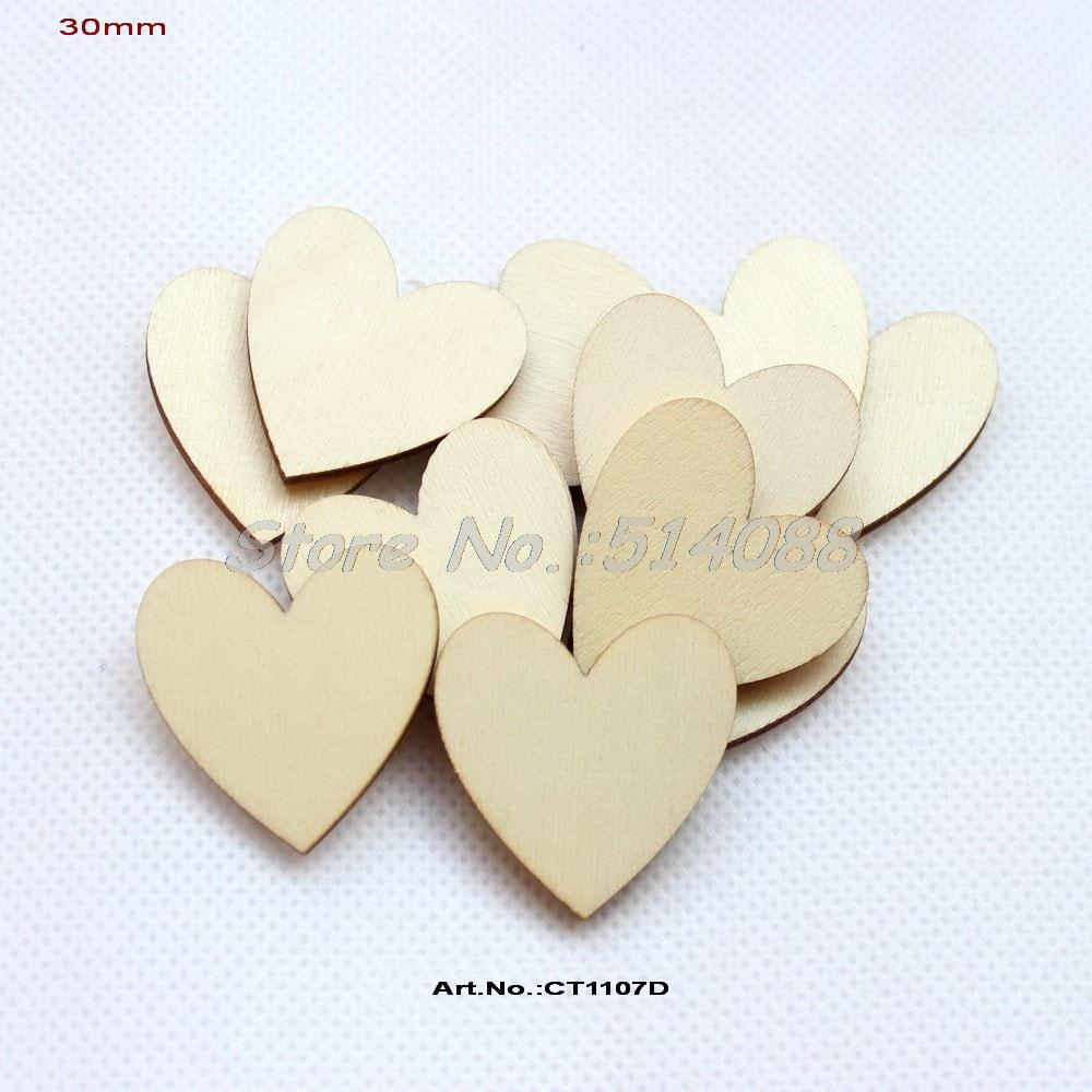 (150pcs/lot) Wood heart love blank unfinished natural crafts supplies wedding ornaments-CT1107D(China (Mainland))