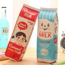 Creative Simulation Milk Box PU Leather Pencil Case Stationery Storage Organizer Bag School Office Supply Escolar Papelaria(China (Mainland))
