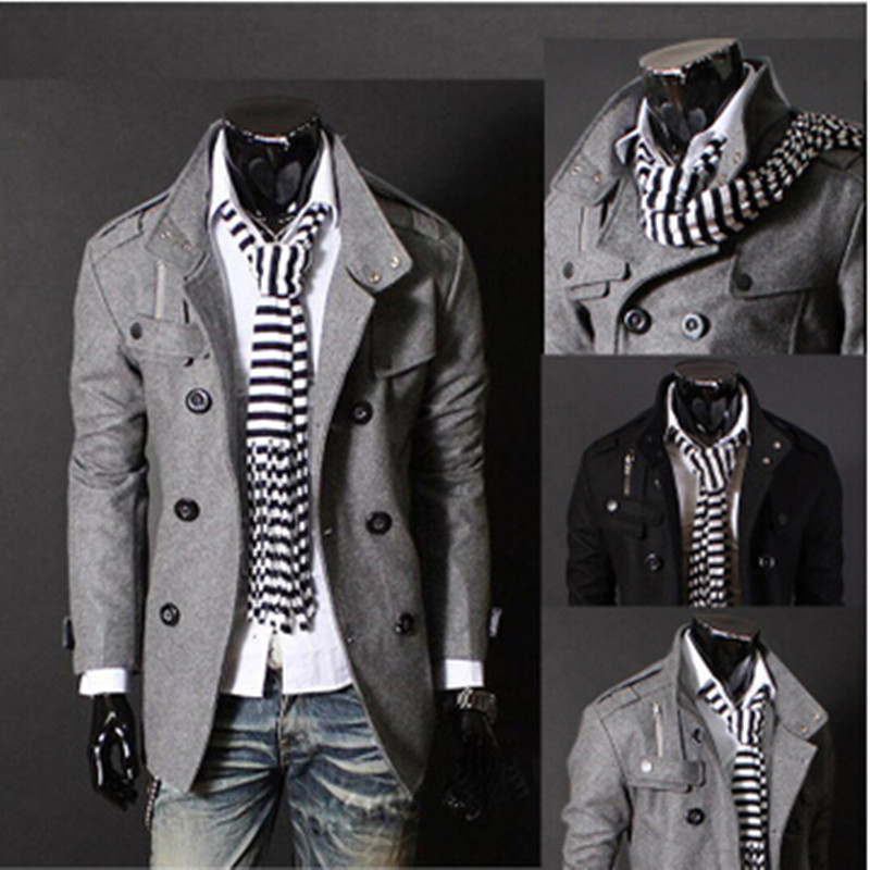 New 2016 stand collar double breasted wool blends mens pea coat england style Men's Clothing coat slim fit casaco masculino/NDY3(China (Mainland))