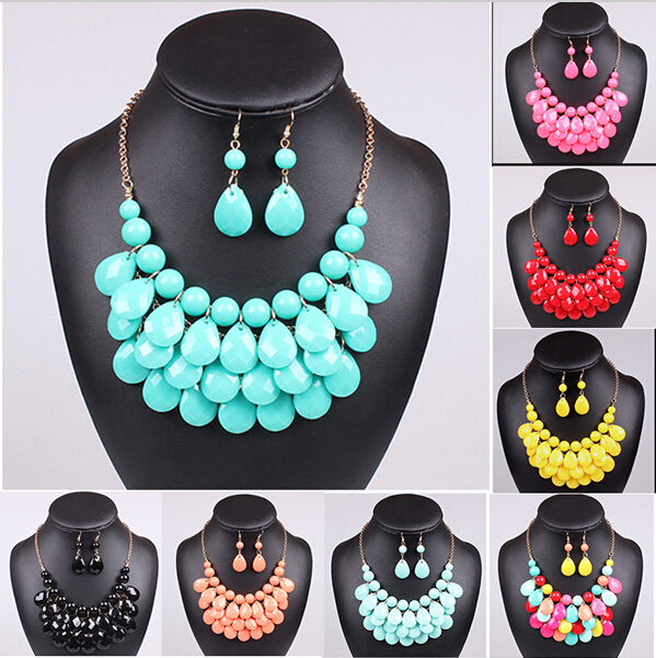 Women's top2015 Fashion spring Teardrop promotion Water Drop Bib necklaces pendants multi-color bubble necklace earring jewelry(China (Mainland))