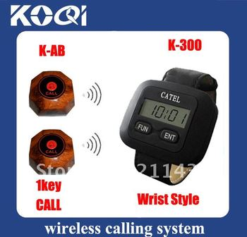 DHL FREEshipping Waiter pager system , 20pcs of table buttons and 2 pcs of wrist watch recievers