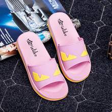 Hot Sale New 2016 Summer Little Monster Women Flats Slippers Non-slip Bathroom Slippers Home Slippers#WYL304(China (Mainland))