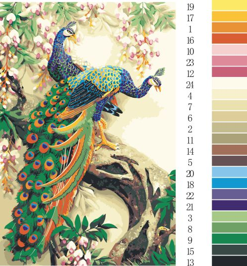 Unframed Peacock series DIY Painting By Numbers Handpainted Oil Painting Living Room Home Wall Decor Artwork 30x45cm/D/SZH-28(China (Mainland))