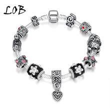 Vintage Style 2016 Heart Charm Bracelets & Bangles Silver Plated Black Glass Beads Bracelets For Women Pulsera(China (Mainland))