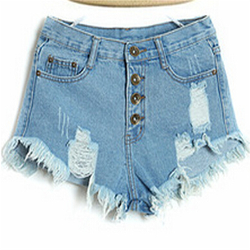 Summer Style Women's Vintage High Waist Jeans Fashion Women Hole Short Regular Solid Color Denim Shorts Good Quality s-xl(China (Mainland))