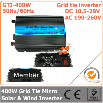 400W 18V Grid Tie Micro Inverter, 10.5-28V DC to AC 190-260V Pure Sine Wave Inverter Suitable for PV Module or Wind Turbine