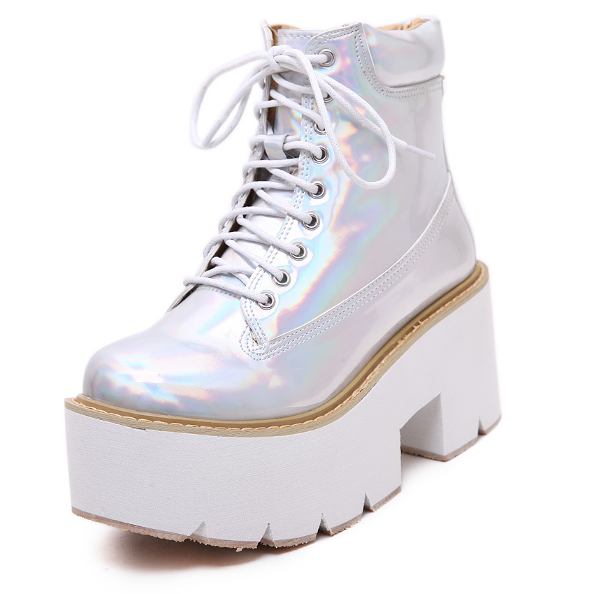 Women's Thick High Heels Platform Ankle Boots Shoes Winter New Fashion Brand Star Metallic Leather Cross Strap Martin - Costume Station store