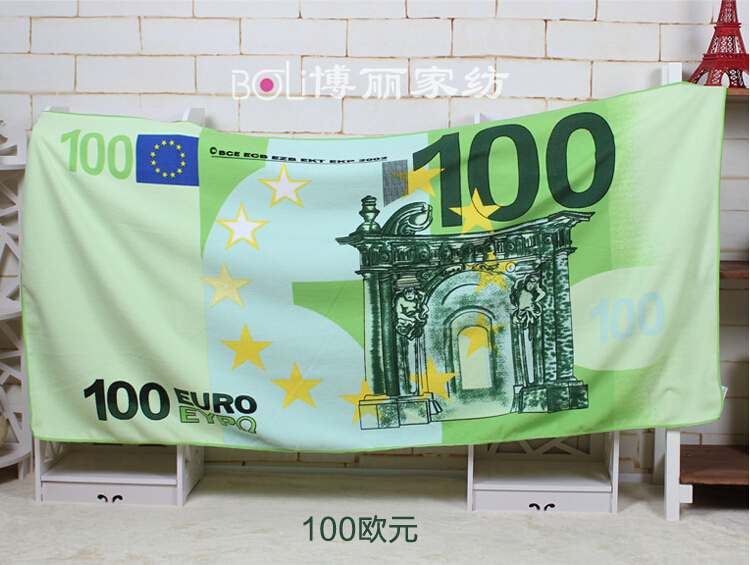 Manufacturers selling printed beach towel ,The euro dollar Russian bear Bath Towel Microfiber towels(China (Mainland))