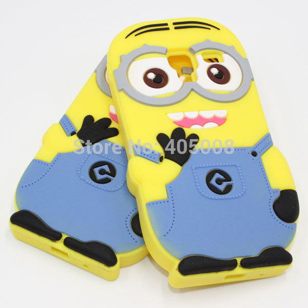 For Samsung Galaxy Ace 2 Case 3D Despicable Me Minions Silicone Phone Back Cases Cover For Samsung Ace 2 i8160(China (Mainland))