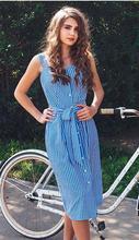 Bothwinner синее Полосатое платье с бантиком сексуальное летнее платье с открытыми плечами женское вечернее платье однобортное миди элегантное...(China)