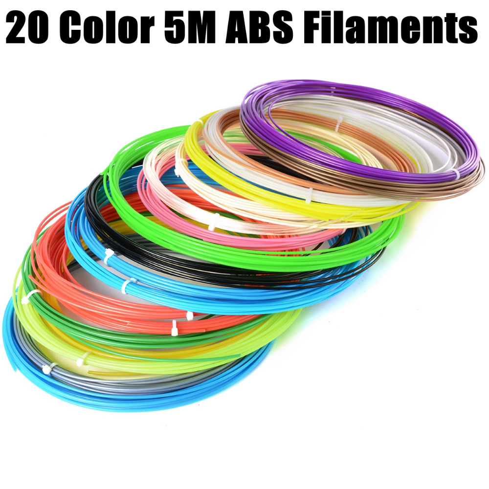 3D Printer Pen material 1 lot 20 colors 5M ABS filament material Package ABS Filament 1.75mm For 3D Printer Printing Drawing Pen<br><br>Aliexpress