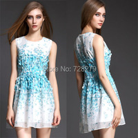 High Quality Summer 2015 DRESS Three-dimensional Petals Beading Sleeveless Vest Women Dresses O-Neck Plus size L XL Sexy