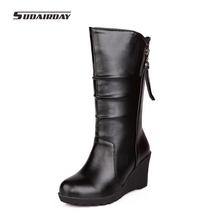 Más el Tamaño 32-50 Botas Botas de Invierno 2016 Mujeres de Invierno Guardan Los Zapatos Calientes Mujer Plisado Mitad de la Pantorrilla cuñas Botas de Nieve botas mujer(China (Mainland))