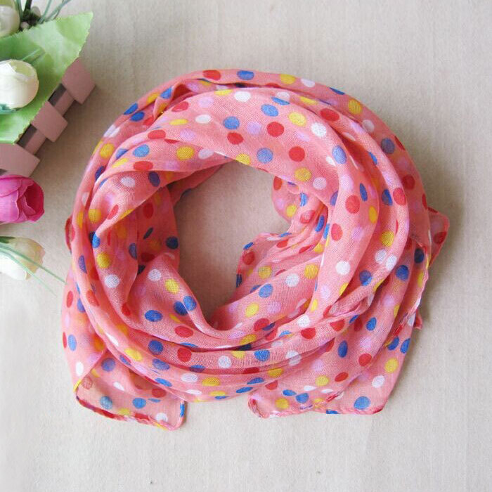 Children girl scarf 5 Colors Spring Winter Fashion Dot Child Scarf Silk Chiffon Baby Girl Scarf Shawl For Kids XW1(China (Mainland))