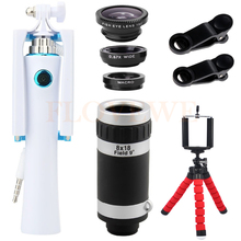 Buy Phone Camera Lenses Kit Mini Selfie Stick Holder 8X Telephoto Zoom Lentes Angle Macro Fisheye Wide Lens iPhone 5 6 7 Xiaomi for $15.19 in AliExpress store
