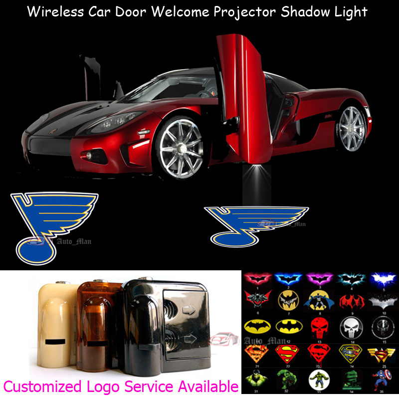 2x Wireless Car Door Step Courtesy Welcome Laser Projector St. Louis Blues Logo Puddle CREE LED Lights(China (Mainland))
