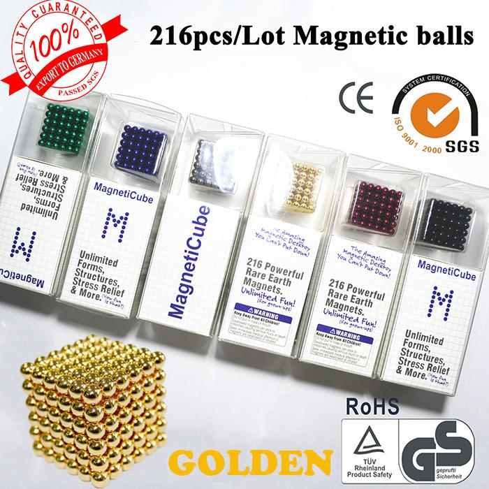 Freeshipping-216 x 5mm Superballs Golden color Buckyballs neocube Strong Power Magnetic Balls best magnet balls To US 10 days(China (Mainland))