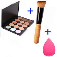 15 Color Concealer Palette + Wooden Handle Brush + Teardrop-shaped Puff Makeup Base Foundation Concealers Face Powder(China (Mainland))