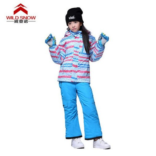 Girls Ski Jacket Sky Blue Ski Pants Waterproof Professional Outdoor Kids Ski Suit Warmth Breathable(China (Mainland))