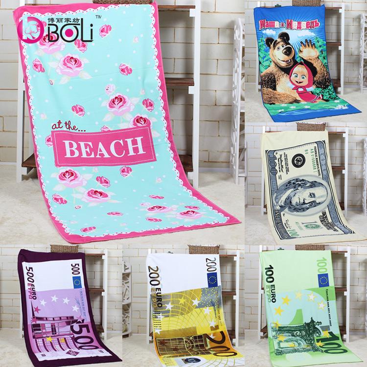 latest design  euro dollar Russian bear extra soft suction superfine fiber reactive printing beach towel 15 color free shipping(China (Mainland))