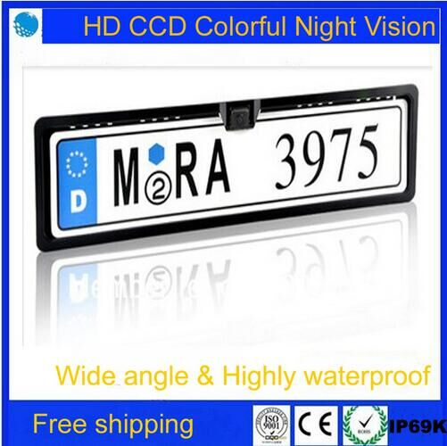 Free shipping!Brand New Universal Night Vision European License Plate Frame Car Reverse Camere,Car Camera(China (Mainland))