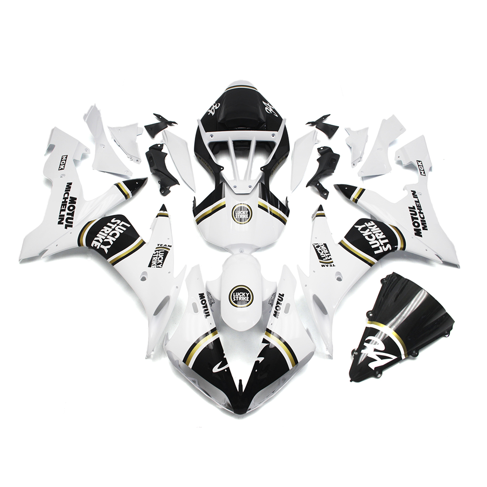 Injection Fairings For Yamaha YZF R1 04 05 06 YZF-R1 2004 - 2006 ABS Motorcycle Fairing Kit Cowling Lucky Strike 34 White Carene(China (Mainland))