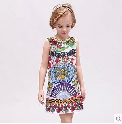 Платье для девочек Floral print 2015 baby C54 childrendlor baby brocade floral print