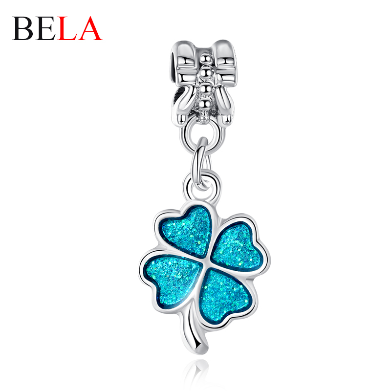 Hot Sale Charms Bracelets Authentic Silver Beads Crystal Lucky Four Clover Charms Fit Women Charms Bracelet DIY Jewelry PS3283(China (Mainland))